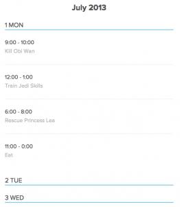 Kalender Beispiel - Listen Ansicht