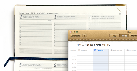 Skeuomorphism in action in Apple's iCal